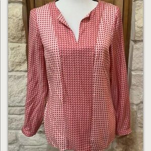 Boden Pullover Blouse Red L/S Silk Blend 6R